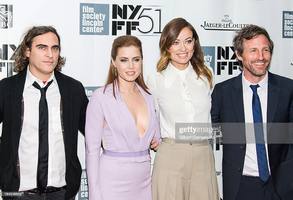Actors <a gi-track='captionPersonalityLinkClicked' href=/galleries/search?phrase=Joaquin+Phoenix&family=editorial&specificpeople=215391 ng-click='$event.stopPropagation()'>Joaquin Phoenix</a>, <a gi-track='captionPersonalityLinkClicked' href=/galleries/search?phrase=Amy+Adams&family=editorial&specificpeople=213938 ng-click='$event.stopPropagation()'>Amy Adams</a>, <a gi-track='captionPersonalityLinkClicked' href=/galleries/search?phrase=Olivia+Wilde&family=editorial&specificpeople=235399 ng-click='$event.stopPropagation()'>Olivia Wilde</a> and director <a gi-track='captionPersonalityLinkClicked' href=/galleries/search?phrase=Spike+Jonze&family=editorial&specificpeople=2619298 ng-click='$event.stopPropagation()'>Spike Jonze</a> attend the Closing Night Gala Presentation Of 'Her' during the 51st New York Film Festival at Alice Tully Hall at Lincoln Center on October 12, 2013 in New York City.