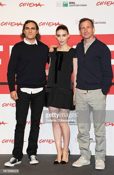 Actors Joaquin Phoenix Rooney Mara and director Spike Jonze attend the 'Her' Photocall during the 8th Rome Film Festival at the Auditorium Parco...