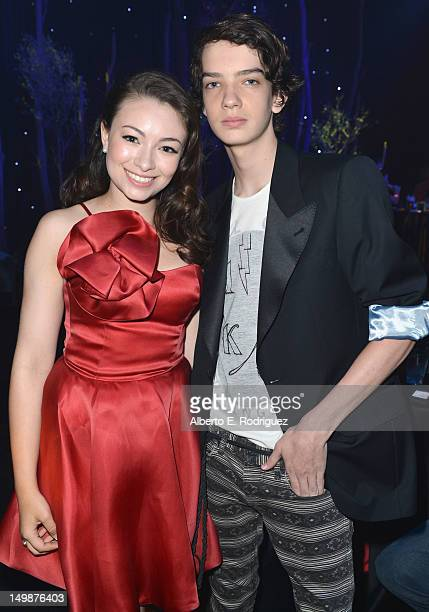 Actors Jodelle Ferland and Kodi SmitMcPhee attend the preparty for the premiere of Focus Features' 'ParaNorman' at Universal CityWalk on August 5...