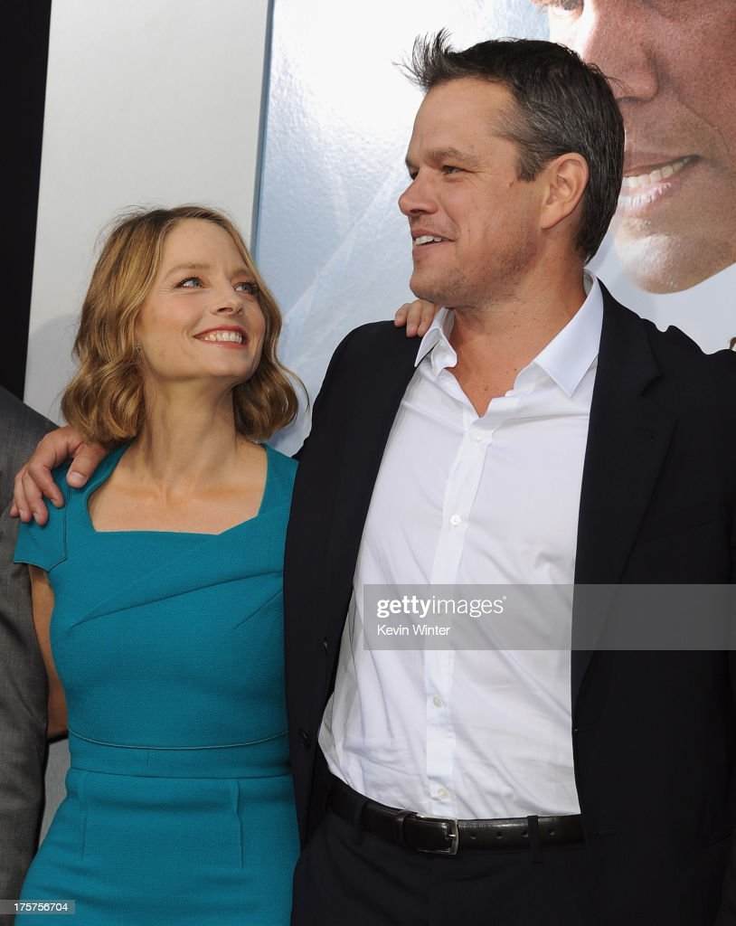 Actors <a gi-track='captionPersonalityLinkClicked' href=/galleries/search?phrase=Jodie+Foster&family=editorial&specificpeople=204488 ng-click='$event.stopPropagation()'>Jodie Foster</a> and <a gi-track='captionPersonalityLinkClicked' href=/galleries/search?phrase=Matt+Damon&family=editorial&specificpeople=202093 ng-click='$event.stopPropagation()'>Matt Damon</a> attend the premiere of TriStar Pictures' 'Elysium' at Regency Village Theatre on August 7, 2013 in Westwood, California.