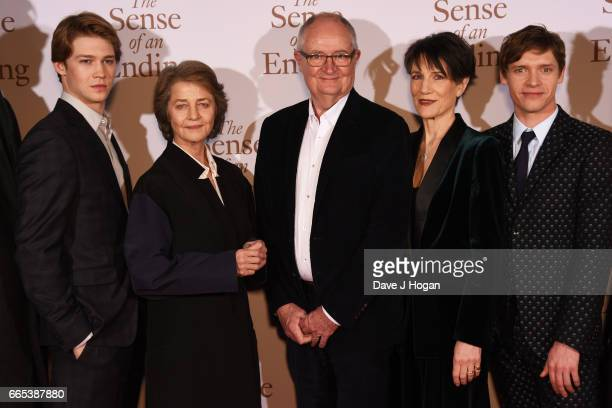 Actors Joe Alwyn Charlotte Rampling Jim Broadbent Harriet Walter and Billy Howle attend 'The Sense of an Ending' UK gala screening on April 6 2017 in...