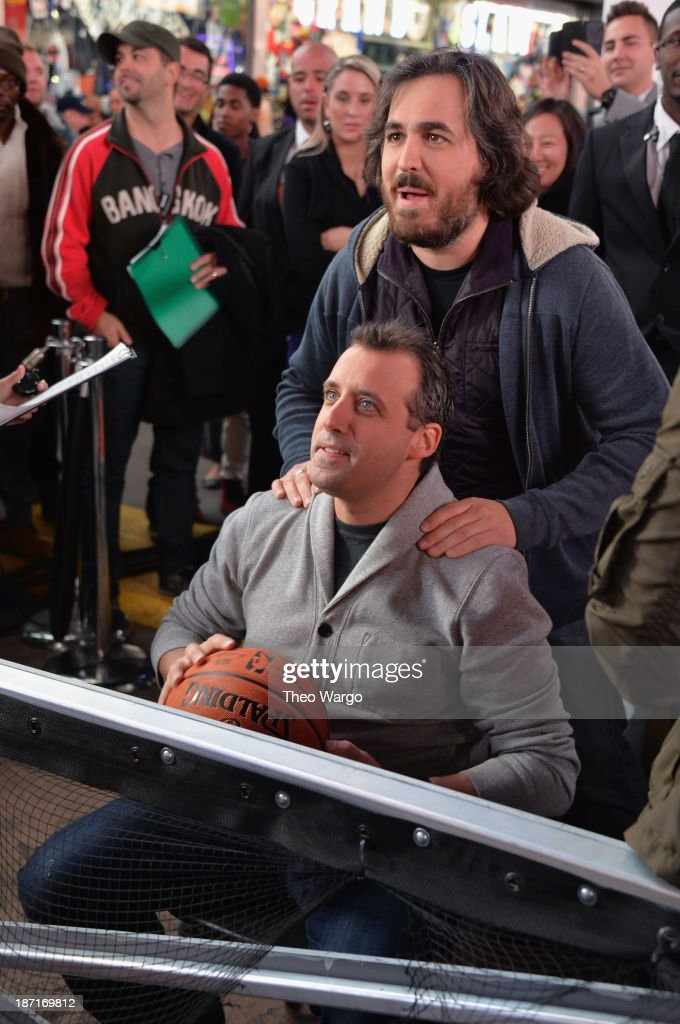 Actors Joe Gatto and <a gi-track='captionPersonalityLinkClicked' href=/galleries/search?phrase=Brian+Quinn+-+Comedian&family=editorial&specificpeople=14584863 ng-click='$event.stopPropagation()'>Brian Quinn</a> participate at the Guinness World Records Unleashed Arena in Times Square on November 6, 2013 in New York City. (Photo by Theo Wargo/WireImage) 24244_003_TW_0238.JPG