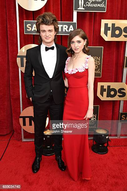 Actors Joe Keery and Natalia Dyer attend The 23rd Annual Screen Actors Guild Awards at The Shrine Auditorium on January 29 2017 in Los Angeles...