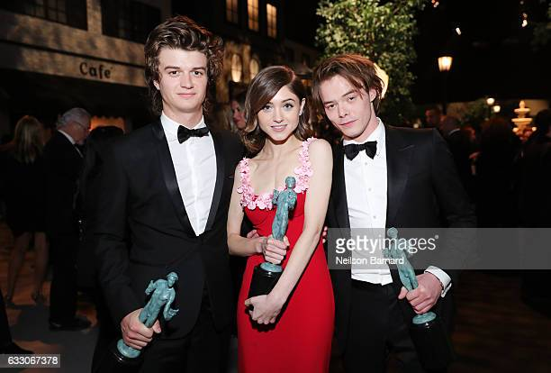 Actors Joe Keery Natalia Dyer and Charlie Heaton attend People And EIF's Annual Screen Actors Guild Awards Gala at The Shrine Auditorium on January...