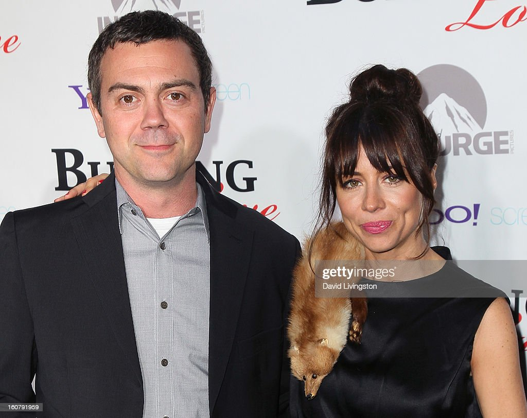 Actors <a gi-track='captionPersonalityLinkClicked' href=/galleries/search?phrase=Joe+Lo+Truglio&family=editorial&specificpeople=561393 ng-click='$event.stopPropagation()'>Joe Lo Truglio</a> (L) and Natasha Leggero attend the premiere of 'Burning Love' Season 2 at the Paramount Theater on the Paramount Studios lot on February 5, 2013 in Hollywood, California.