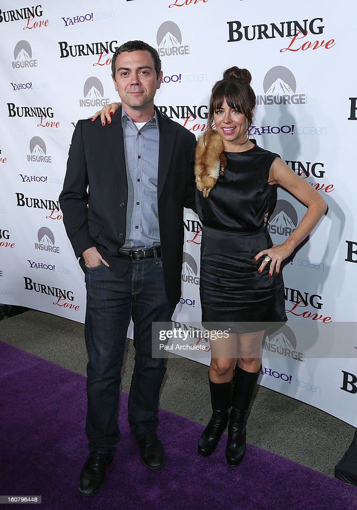 Actors Joe LoTruglio (L) and Natasha Leggero (R) attend the 'Burning Love' Season 2 Los Angeles Premiere at Paramount Theater on the Paramount Studios lot on February 5, 2013 in Hollywood, California.