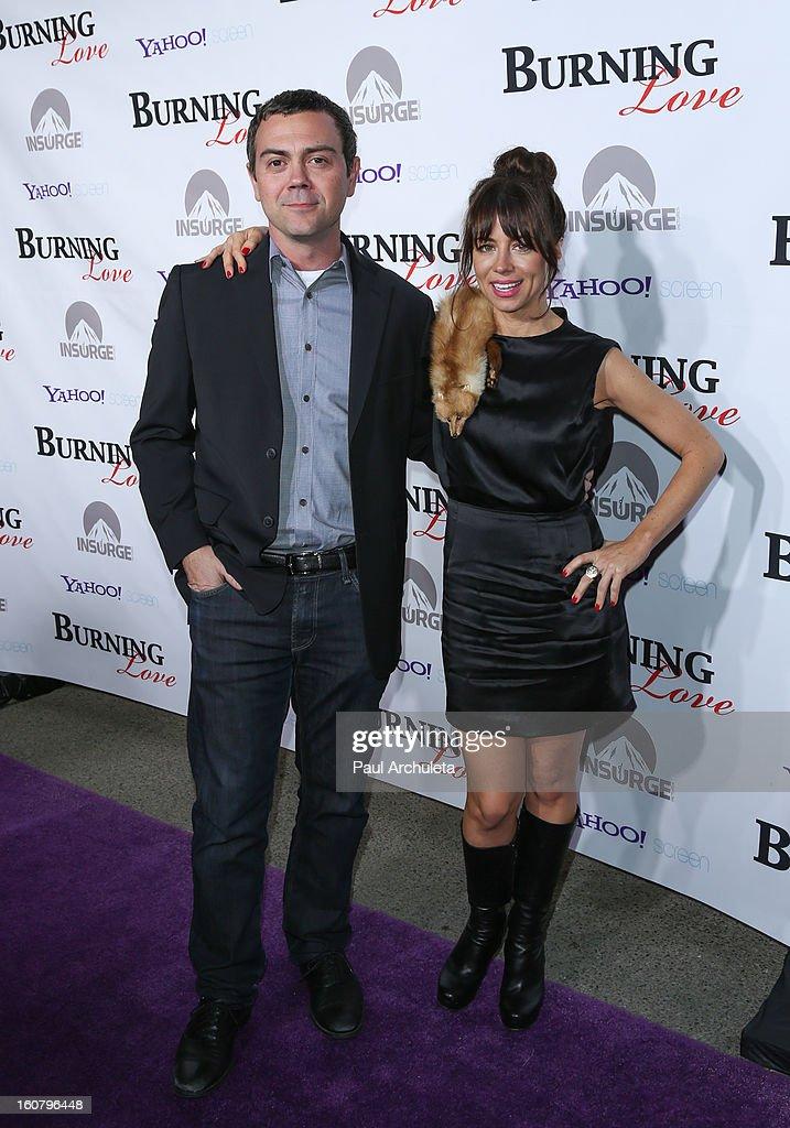 Actors Joe LoTruglio (L) and Natasha Leggero (R) attend the 'Burning Love' Season 2 Los Angeles Premiere at Paramount Theater on the Paramount Studios lot on February 5, 2013 in Hollywood, California.