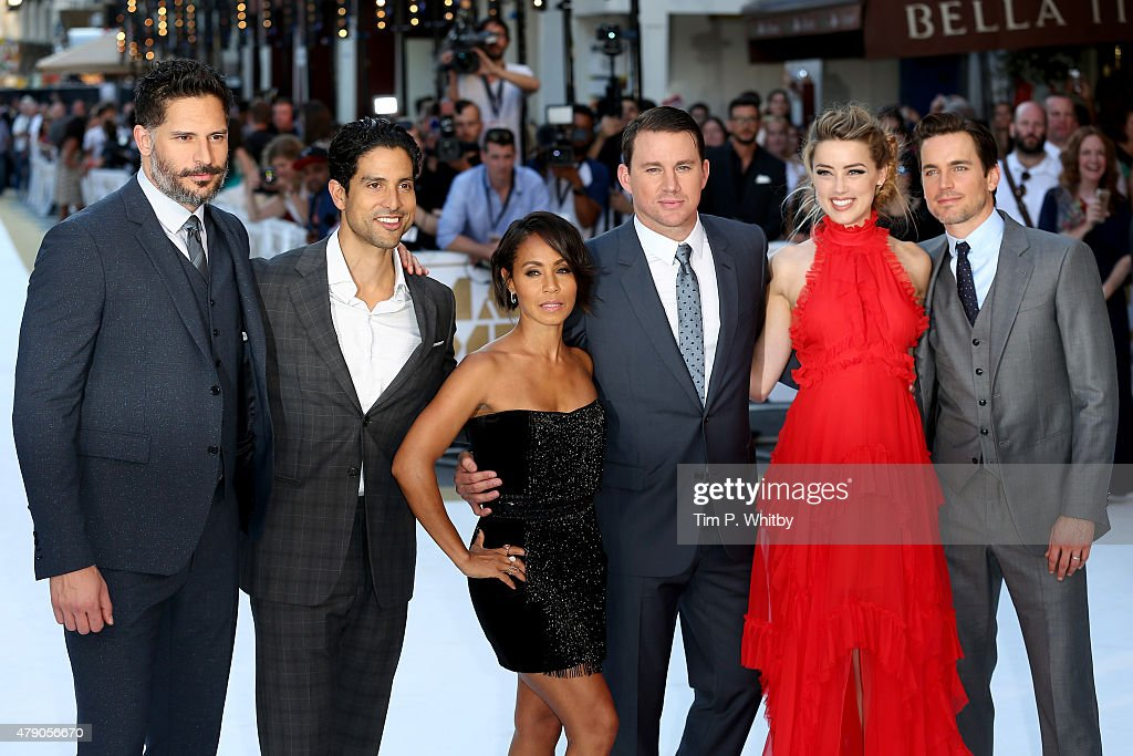 Actors Joe Manganiello Adam Rodriguez Jada Pinkett Smith Channing Tatum Amber Heard and Matt Bomer attend the European Premiere of 'Magic Mike XXL'...