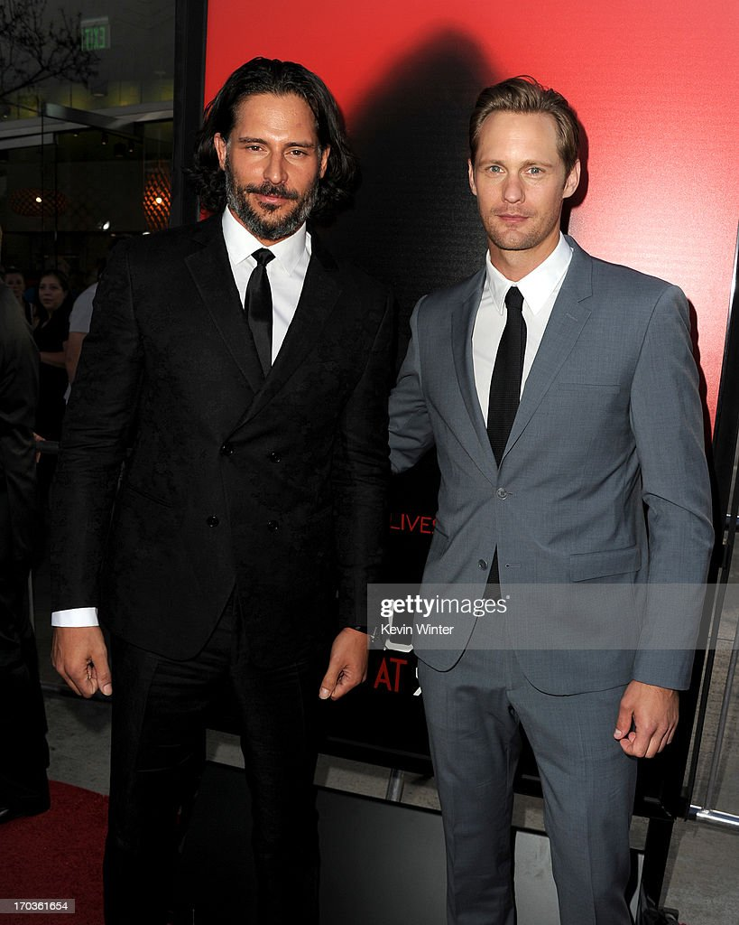 Actors <a gi-track='captionPersonalityLinkClicked' href=/galleries/search?phrase=Joe+Manganiello&family=editorial&specificpeople=2516889 ng-click='$event.stopPropagation()'>Joe Manganiello</a> and <a gi-track='captionPersonalityLinkClicked' href=/galleries/search?phrase=Alexander+Skarsg%C3%A5rd&family=editorial&specificpeople=2483508 ng-click='$event.stopPropagation()'>Alexander Skarsgård</a> attend the premiere of HBO's 'True Blood' at ArcLight Cinemas Cinerama Dome on June 11, 2013 in Hollywood, California.