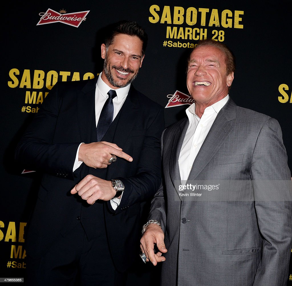 Actors <a gi-track='captionPersonalityLinkClicked' href=/galleries/search?phrase=Joe+Manganiello&family=editorial&specificpeople=2516889 ng-click='$event.stopPropagation()'>Joe Manganiello</a> (L) and <a gi-track='captionPersonalityLinkClicked' href=/galleries/search?phrase=Arnold+Schwarzenegger&family=editorial&specificpeople=156406 ng-click='$event.stopPropagation()'>Arnold Schwarzenegger</a> arrive at the premiere of Open Road Films' 'Sabotage' at the Regal Cinemas L.A. Live on March 19, 2014 in Los Angeles, California.