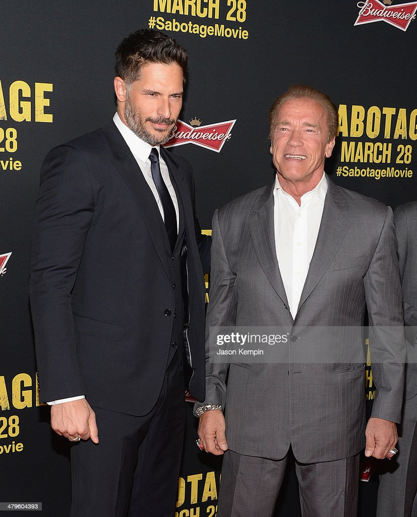 Actors <a gi-track='captionPersonalityLinkClicked' href=/galleries/search?phrase=Joe+Manganiello&family=editorial&specificpeople=2516889 ng-click='$event.stopPropagation()'>Joe Manganiello</a> and <a gi-track='captionPersonalityLinkClicked' href=/galleries/search?phrase=Arnold+Schwarzenegger&family=editorial&specificpeople=156406 ng-click='$event.stopPropagation()'>Arnold Schwarzenegger</a> attend the premiere of Open Road Films' 'Sabotage' at Regal Cinemas L.A. Live on March 19, 2014 in Los Angeles, California.