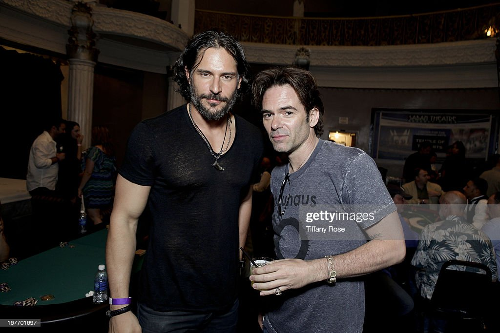 Actors <a gi-track='captionPersonalityLinkClicked' href=/galleries/search?phrase=Joe+Manganiello&family=editorial&specificpeople=2516889 ng-click='$event.stopPropagation()'>Joe Manganiello</a> and <a gi-track='captionPersonalityLinkClicked' href=/galleries/search?phrase=Billy+Burke&family=editorial&specificpeople=602361 ng-click='$event.stopPropagation()'>Billy Burke</a> attend Los Angeles Police Memorial Foundation's Celebrity Poker Tournament at Saban Theatre on April 27, 2013 in Beverly Hills, California.