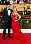 Actors Joe Manganiello and Sofia Vergara attend the 21st Annual Screen Actors Guild Awards at The Shrine Auditorium on January 25 2015 in Los Angeles...