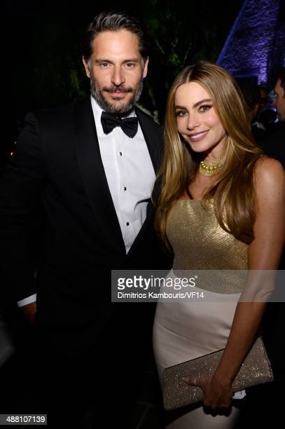Actors Joe Manganiello and Sofia Vergara attend the Bloomberg Vanity Fair cocktail reception following the 2014 WHCA Dinner at Villa Firenze on May 3...