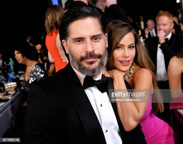 Actors Joe Manganiello and Sofia Vergara in the audience during The 22nd Annual Screen Actors Guild Awards at The Shrine Auditorium on January 30...