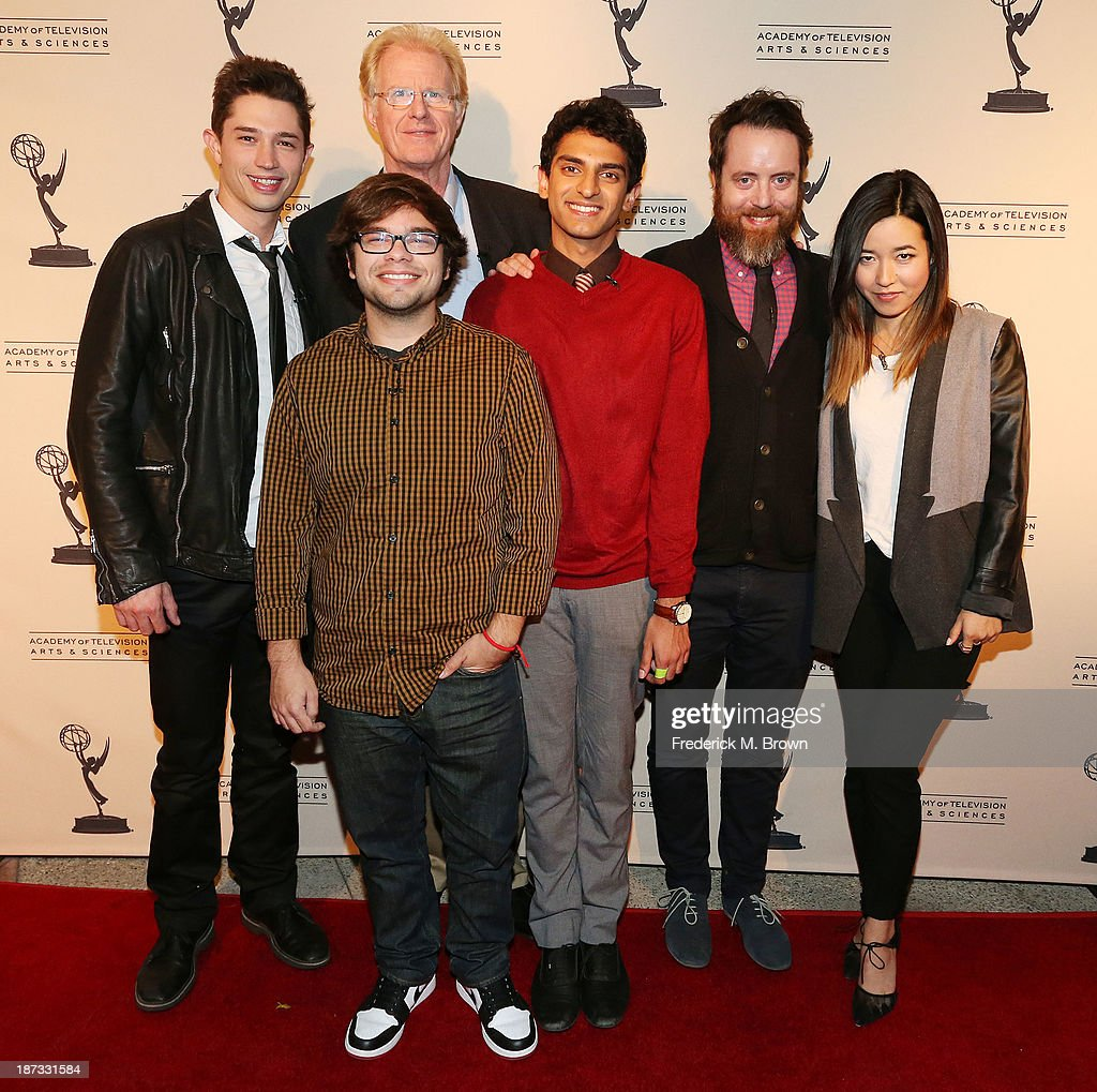 Actors Joel Dinicol, Charlie Saxton, Ed Begley, Jr., Karan Soni, Jonathan C. Daly and actress Maya Erkine attend The Television Academy Presents an Evening with Amazon Studios at the Leonard H. Goldenson Theatre on November 7, 2013 in North Hollywood, California.