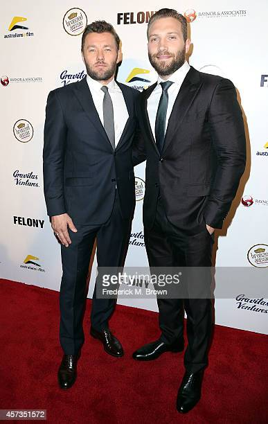 Actors Joel Edgerton and Jai Courtney attend the Premiere of 'Felony' at the Harmony Gold Theatre on October 16 2014 in Los Angeles California