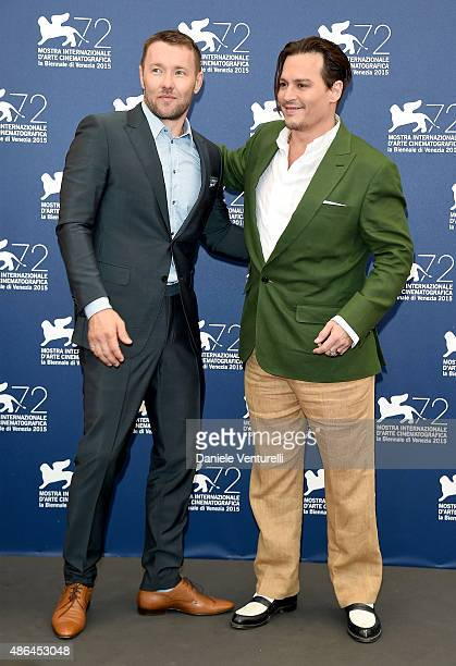 Actors Joel Edgerton and Johnny Depp attend a photocall for 'Black Mass' during the 72nd Venice Film Festival at Palazzo del Casino on September 4...