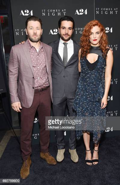 Actors Joel Edgerton Christopher Abbot and Riley Keough attend the 'It Comes At Night' New York premiere at The Metrograph on June 5 2017 in New York...