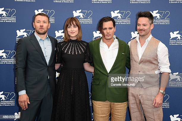 Actors Joel Edgerton Dakota Johnson Johnny Depp and director Scott Cooper attend a photocall for 'Black Mass' during the 72nd Venice Film Festival at...