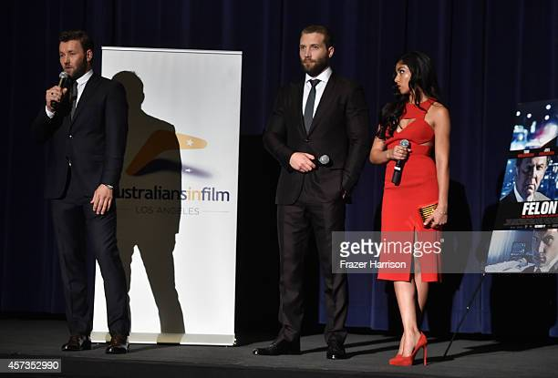 Actors Joel Edgerton Jai Courtney Sarah Roberts attend Australians in Film present the Premiere Of 'Felony' at Harmony Gold Theatre on October 16...