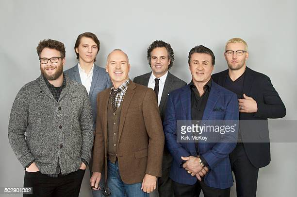 Actors Joel Edgerton Mark Ruffalo Michael Keaton Paul Dano Seth Rogen and Sylvester Stallone are photographed for Los Angeles Times on November 15...