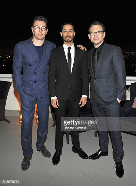 Actors Joel Edgerton Riz Ahmed and Christian Slater attend a private dinner hosted by GQ and Dior Homme in celebration of the 2016 GQ Men of The Year...