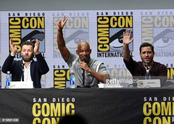 Actors Joel Edgerton Will Smith and Edgar Ramirez speak onstage at Netflix Films 'Bright' and 'Death Note' panel during ComicCon International 2017...