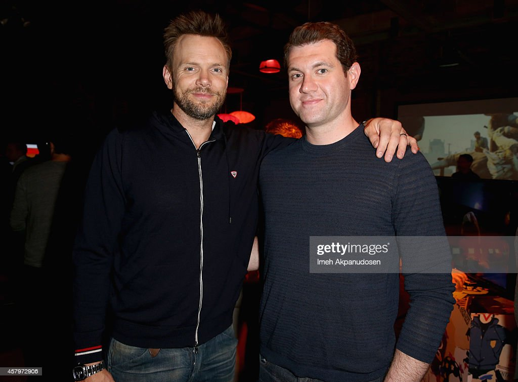 Actors Joel McHale and Billy Eichner attend the Sunset Overdrive Launch at The Microsoft Lounge on October 27 2014 in Venice California