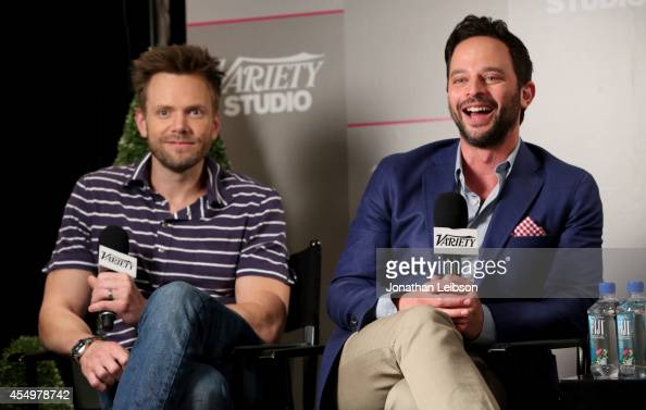 Actors Joel McHale and Nick Kroll attendsthe Variety Studio presented by Moroccanoil at Holt Renfrew during the 2014 Toronto International Film...
