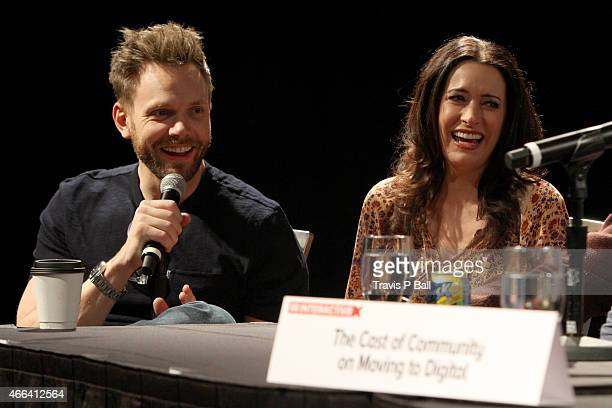 Actors Joel McHale and Paget Brewster speak onstage at 'The Cast Of 'Community' On Moving To Digital' during 2015 SXSW Music Film Interactive...