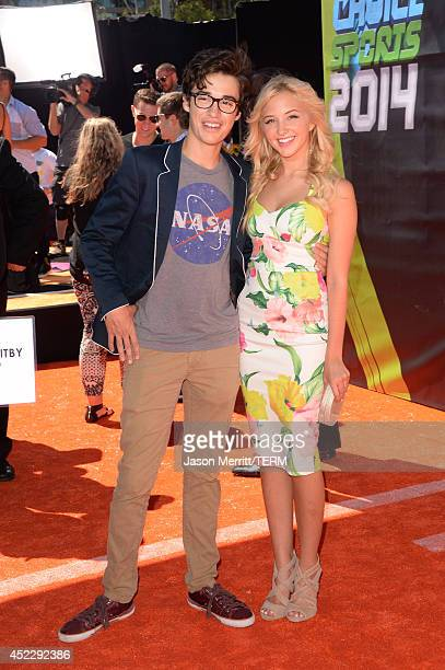 Actors Joey Bragg and Audrey Whitby attend Nickelodeon Kids' Choice Sports Awards 2014 at UCLA's Pauley Pavilion on July 17 2014 in Los Angeles...