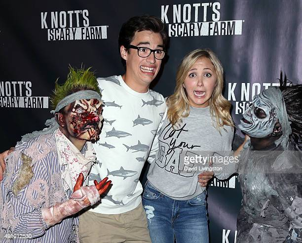 Actors Joey Bragg and Audrey Whitby attend the Knott's Scary Farm Black Carpet at Knott's Berry Farm on October 1 2015 in Buena Park California