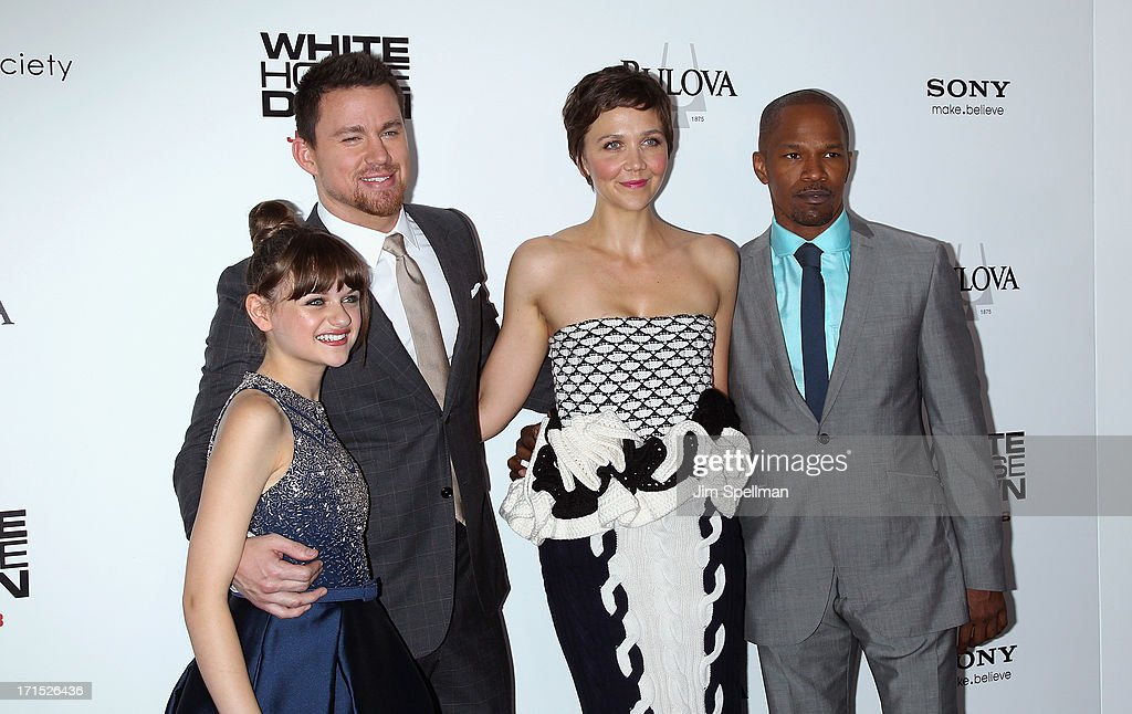 Actors Joey King, Channing Tatum, Maggie Gyllenhaal and Jamie Foxx attend 'White House Down' New York Premiere at Ziegfeld Theater on June 25, 2013 in New York City.