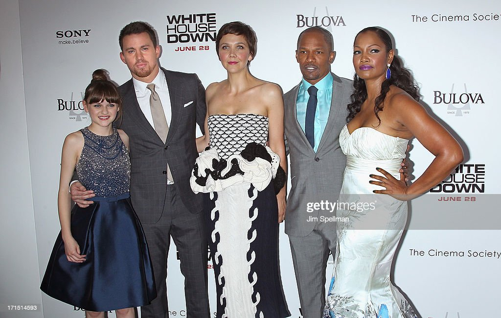 Actors Joey King, Channing Tatum, Maggie Gyllenhaal, Jamie Foxx and Garcelle Beauvais attend 'White House Down' New York Premiere at Ziegfeld Theater on June 25, 2013 in New York City.