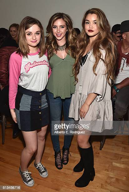 Actors Joey King Ryan Newman and Paris Berelc attend the premiere party of Disney XD's 'Lab Rats Elite Force' on March 2 2016 in Los Angeles...