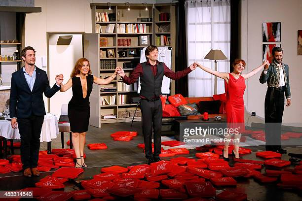 Actors Joffrey Platel Noemie de Lattre Pierre Palmade AnneElisabeth Blateau and Benjamin Gauthier during the traditional throw of cushions at the...