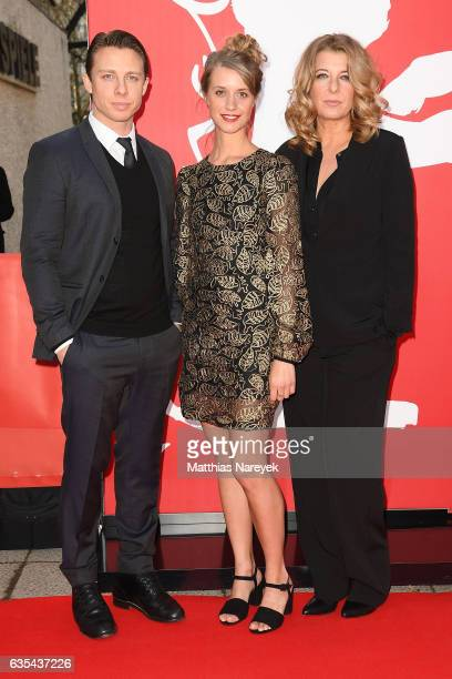 Actors Johannes Lassen Sara Hjort Ditlevsen and Paprika Steen attend the 'Below The Surface' premiere during the 67th Berlinale International Film...