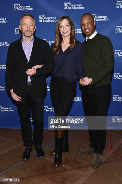 Actors John Benjamin Hickey Allison Janney and Corey Hawkins attend the 'Six Degrees Of Separation' Cast Meet Greet at The New 42nd Street Studios on...