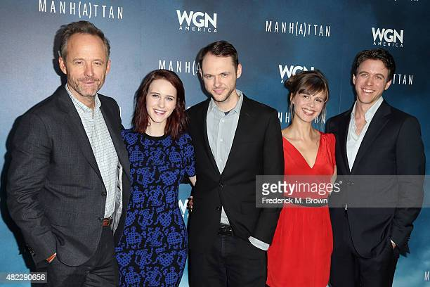 Actors John Benjamin Hickey Rachel Brosnahan Christopher Denham Katja Herbers and Ashley Zukerman attend WGN America's 'Manhattan' 2015 Summer TCA...