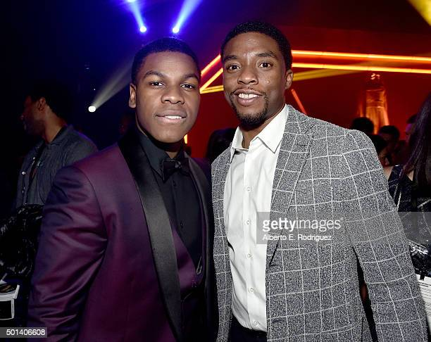 "Actors John Boyega and Chadwick Boseman attend the after party for the World Premiere of ""Star Wars The Force Awakens"" on Hollywood Blvd on December..."