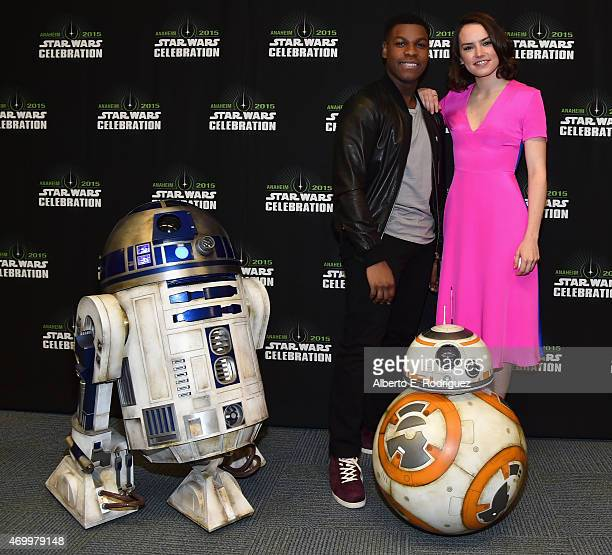 Actors John Boyega and Daisy Ridley attend Star Wars Celebration 2015 on April 16 2015 in Anaheim California