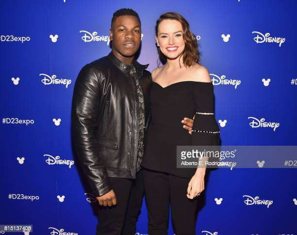 Actors John Boyega and Daisy Ridley of STAR WARS THE LAST JEDI took part today in the Walt Disney Studios live action presentation at Disney's D23...