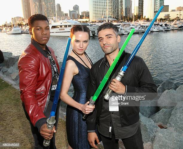 Actors John Boyega Daisy Ridley Oscar Isaac and more than 6000 fans enjoyed a surprise 'Star Wars' Fan Concert performed by the San Diego Symphony...