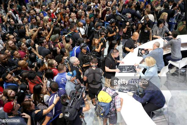 Actors John Bradley Gwendoline Christie Liam Cunningham and Isaac Hempstead Wright at the 'Game of Thrones' autograph signing with HBO at San Diego...