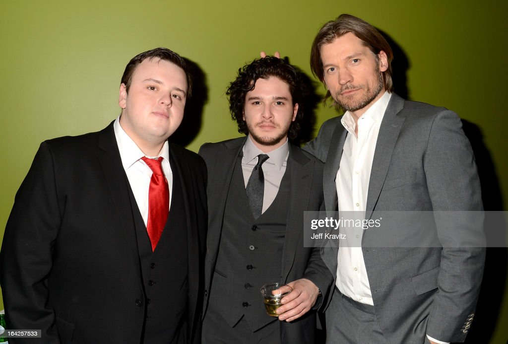 Actors John Bradley, <a gi-track='captionPersonalityLinkClicked' href=/galleries/search?phrase=Kit+Harington&family=editorial&specificpeople=7470548 ng-click='$event.stopPropagation()'>Kit Harington</a> and Nikolaj Coster-Waldau attend HBO's 'Game Of Thrones' Season 3 Seattle Premiere on March 21, 2013 in Seattle, Washington.