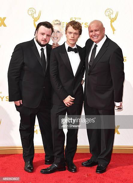 Actors John BradleyWest Alfie Allen and Conleth Hill attend the 67th Annual Primetime Emmy Awards at Microsoft Theater on September 20 2015 in Los...