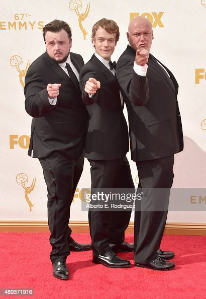 Actors John BradleyWest Alfie Allen and Conleth Hill attend the 67th Emmy Awards at Microsoft Theater on September 20 2015 in Los Angeles California...