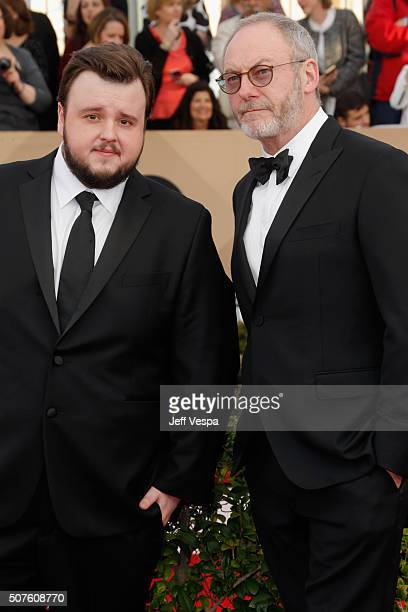 Actors John BradleyWest and Liam Cunningham attend the 22nd Annual Screen Actors Guild Awards at The Shrine Auditorium on January 30 2016 in Los...