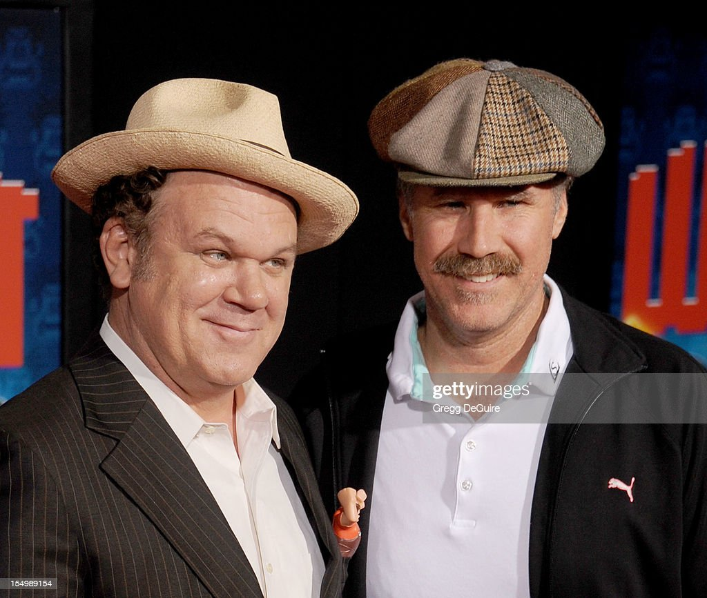 Actors John C. Reilly and Will Ferrell arrive at the Los Angeles premiere of 'Wreck-It Ralph' at the El Capitan Theatre on October 29, 2012 in Hollywood, California.